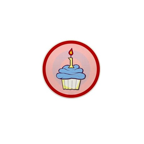 1st Birthday Cupcake (boy) Mini Button (100 pack)
