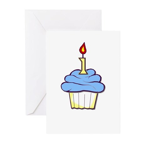 1st Birthday Cupcake (boy) Party Invitation(Pk 10)