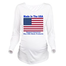 madeinusa_2012a_blue Long Sleeve Maternity T-Shirt