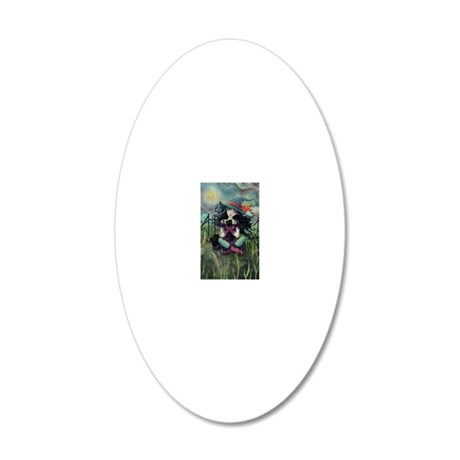 Kitten Witch Halloween 20x12 Oval Wall Decal