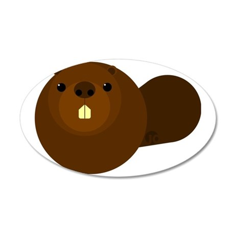 beaver 35x21 Oval Wall Decal