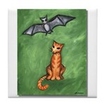 Cat and Bat Tile Coaster