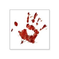 "Bloody Handprint Right Square Sticker 3"" x 3"""