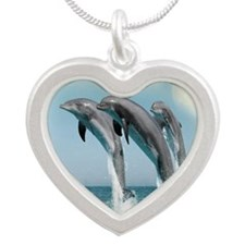 dolphin  jump mousepad Silver Heart Necklace