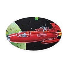 SPACE ROCKET Oval Car Magnet