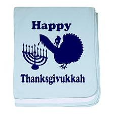 Happy Thanksukkah 3 navy baby blanket