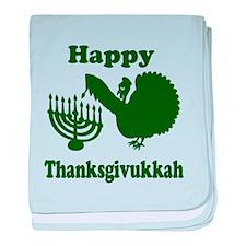 Happy Thanksukkah 3 green baby blanket