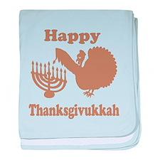 Happy Thanksukkah 3 brown baby blanket