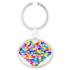 Rainbow Heart of Hearts Oval Keychain