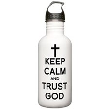 keep calm trust god cr Water Bottle