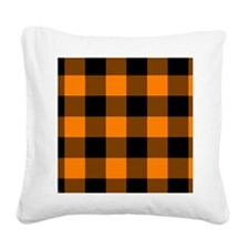 stadiumblanketorangecheckered Square Canvas Pillow