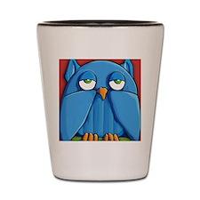 Sticker Aqua Owl red Shot Glass
