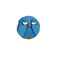Ornament oval Aqua Owl Mini Button