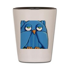 Keychain rect Aqua Owl Shot Glass