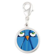 Keychain rect Aqua Owl red Silver Round Charm