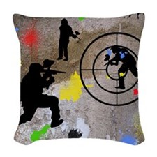 Paintball Mayhem Shower Curtai Woven Throw Pillow