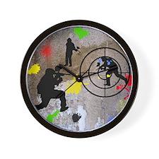 Paintball Mayhem Shower Curtain Wall Clock