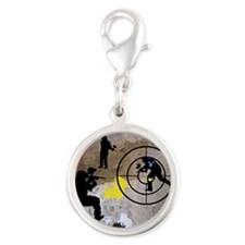 Paintball King Duvet Silver Round Charm