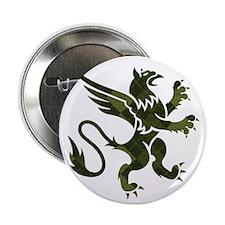 """Green Argyle Gryphon 2.25"""" Button"""