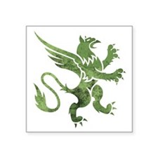 """Green Gryphon Square Sticker 3"""" x 3"""""""