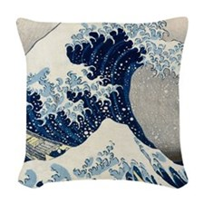 FF Hokusai Wave Woven Throw Pillow