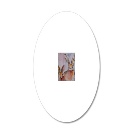 2 Hares 20x12 Oval Wall Decal