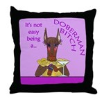 Red Doberman Bitch Throw Pillow