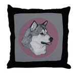 Gray Alaskan Malamute Throw Pillow