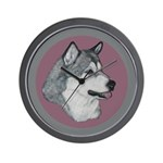 Gray Alaskan Malamute Wall Clock