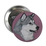 Gray Alaskan Malamute Button