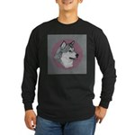 Gray Alaskan Malamute Long Sleeve Dark T-Shirt