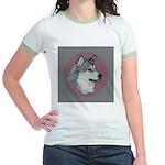 Gray Alaskan Malamute Jr. Ringer T-Shirt