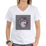 Gray Alaskan Malamute Women's V-Neck T-Shirt