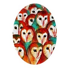 Crowded Owls Oval Ornament