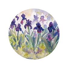 "SQ Purp Irises for CP shower curtain 3.5"" Button"