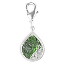 turtle With Cane Silver Teardrop Charm