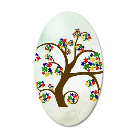 Autism Tree of Life 35x21 Oval Wall Decal