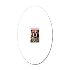 PinkTulipsBulldogDk_5x7_V 20x12 Oval Wall Decal