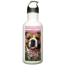 PinkTulipsBulldogDk_5x Sports Water Bottle