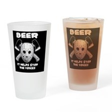 beer stops the voices btn Drinking Glass