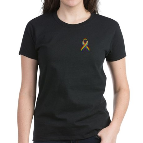 Rainbow Pride Ribbon Women's Dark T-Shirt