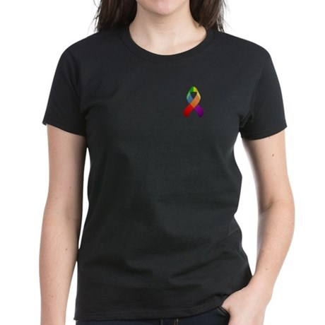Rainbow Pride II Ribbon Women's Dark T-Shirt