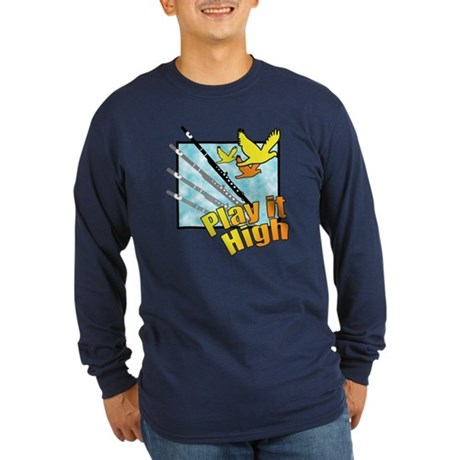 "Flute ""Play it High"" Long Sleeve Dark T-Shirt"
