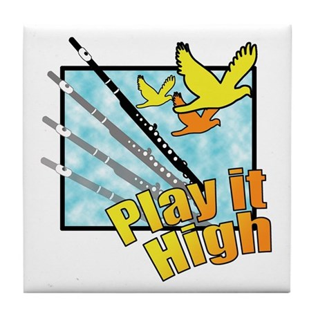 "Flute ""Play it High"" Tile Coaster"