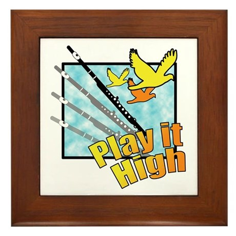 "Flute ""Play it High"" Framed Tile"