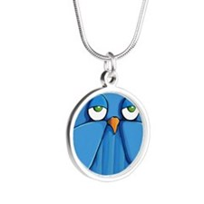 Coin Purse Aqua Owl aqua Silver Round Necklace