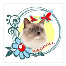 "Ragdoll, Butterflies and Square Car Magnet 3"" x 3"""