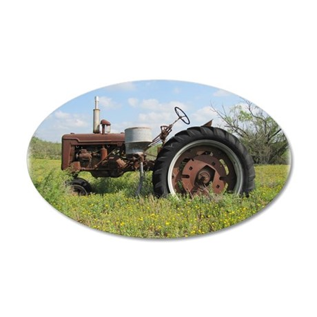 Rusty Tractor 35x21 Oval Wall Decal