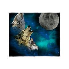 New Wolfs family moon 2 BG Throw Blanket