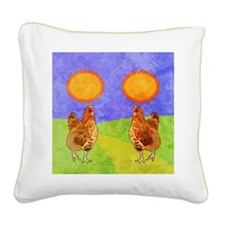 flipFlopsRooster Square Canvas Pillow